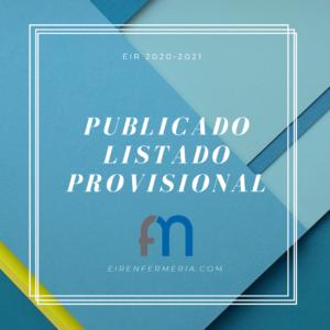Publicado Listado Provisional EIR 20/21